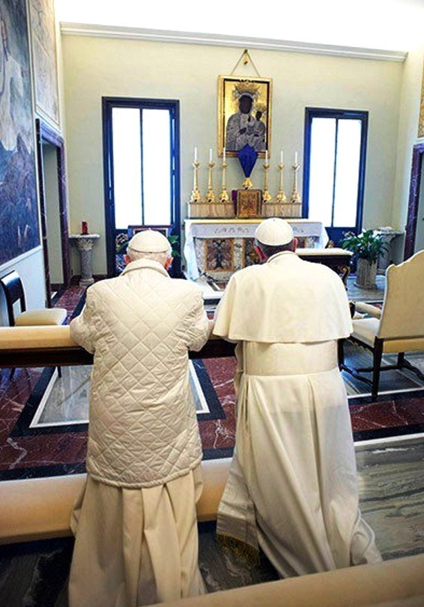 Two Popes Worshipping the Black Madonna and Child